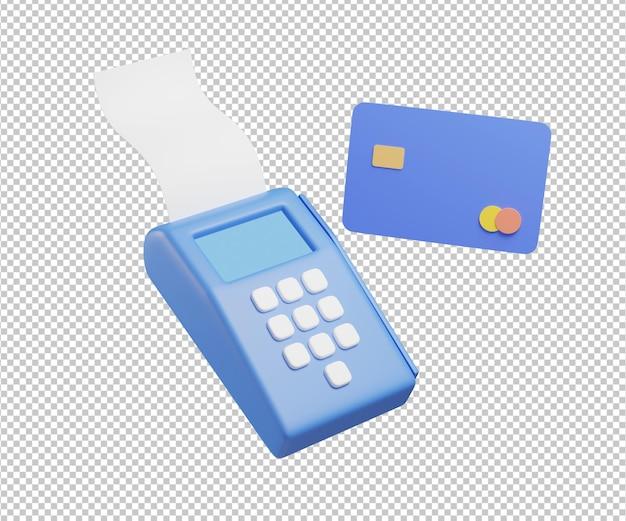 신용 카드 지불 기계 3d 일러스트 디자인 렌더링 절연