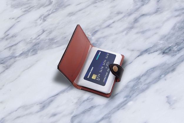 Credit card on wallet mockup