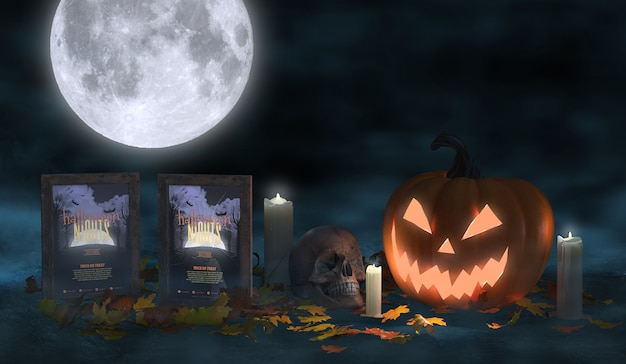 Creepy halloween arrangement with movie posters and scary pumpkin