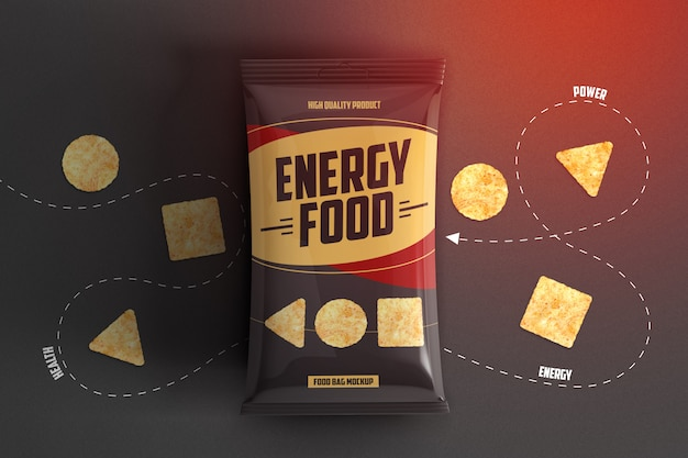 Crispy chips packaging mockup