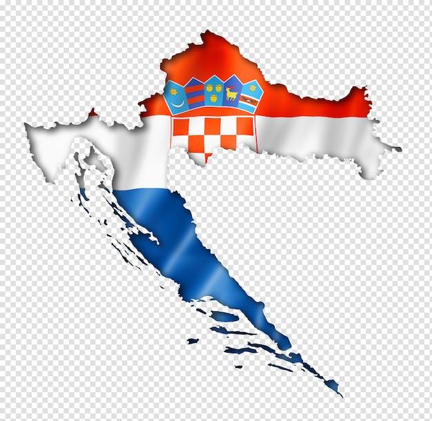 크로아티아 국기지도