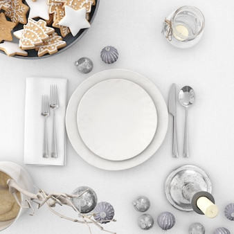 Crockery and decorations on a christmas table