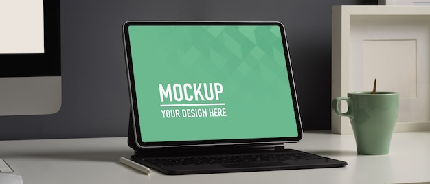 Cropped shot of home office desk with digital tablet mockup
