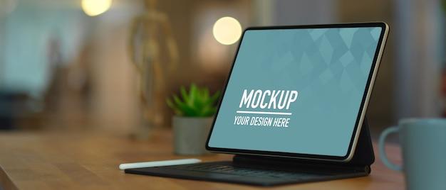 Cropped shot of mock up digital tablet on wooden table
