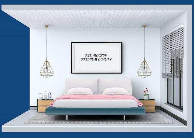 Поперечное сечение шоу интерьер современной спальни комнаты