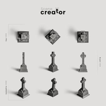 Крест разнообразных углов создателя сцены хэллоуина Бесплатные Psd