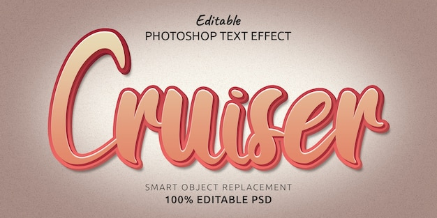 크루저 편집 가능한 photoshop 텍스트 스타일 효과