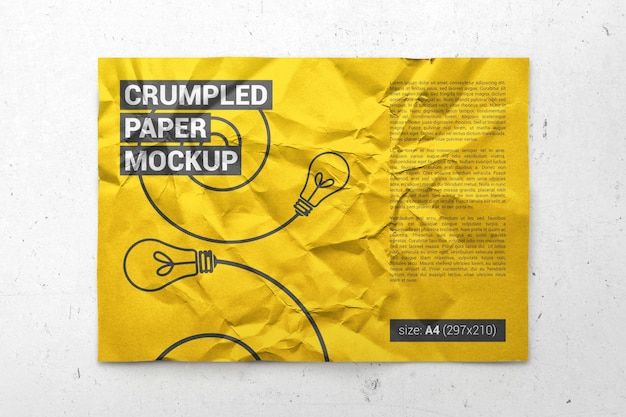 Crumpled a4 paper, poster, flyer mockup