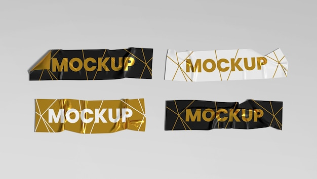Crumpled adhesive tapes stickers set mockup