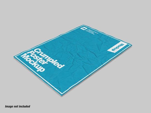 ポスターまたはチラシのモックアップ用のしわくちゃの紙