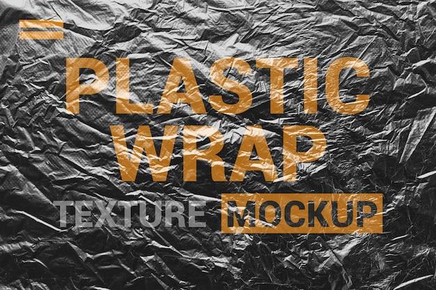 Crumpled plastic texture mockup