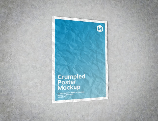 Crumpled poster on concrete surface mockup