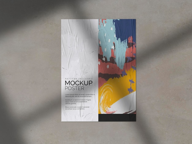 Crumpled poster with shadow mockup