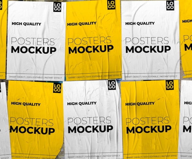 Crumpled posters composition mockup