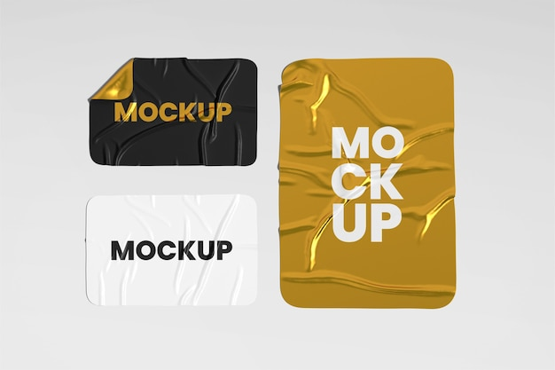 Crumpled sticker mockup set