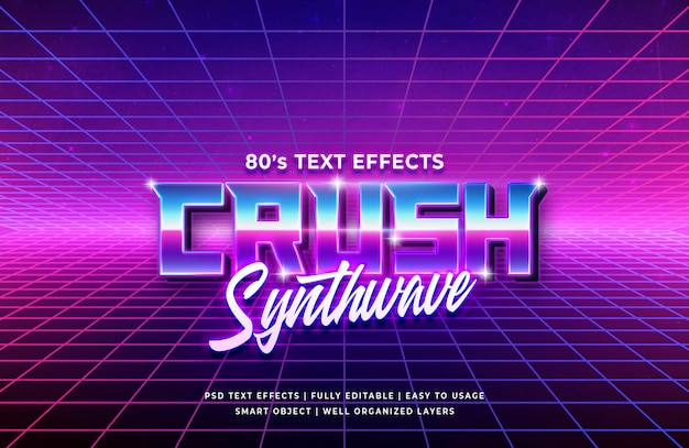 Crush 80's retro text effect