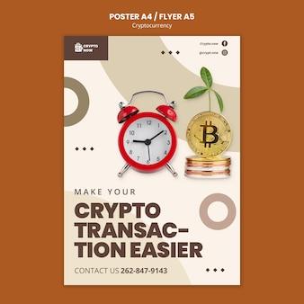 Шаблон плаката крипто транзакции
