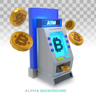 暗号通貨atm(現金自動預け払い機)。 3dイラスト