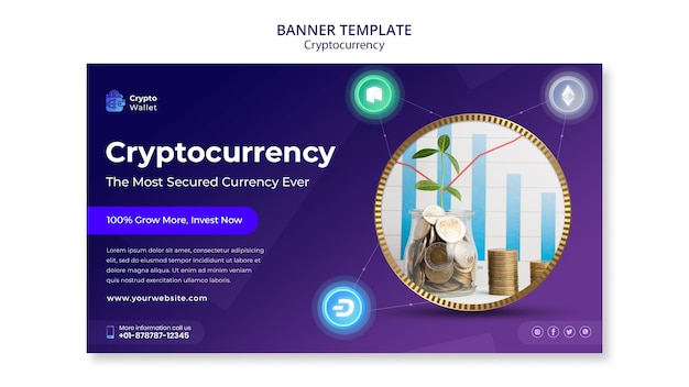 Cryptocurrency banner design template