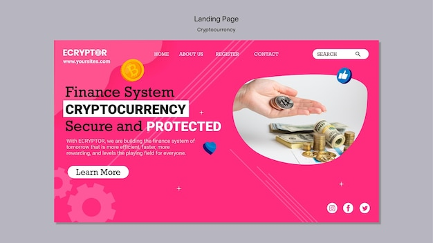 Cryptocurrency design template of banner