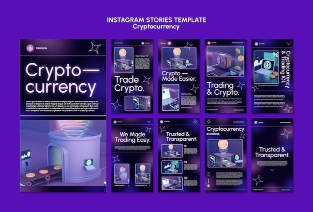 Cryptocurrency design template of instagram stories