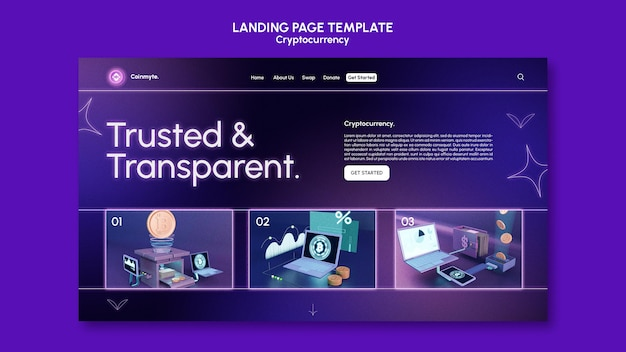 Cryptocurrency design template of landing page
