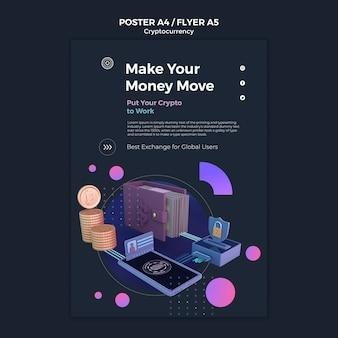 Modello di progettazione di criptovaluta del poster