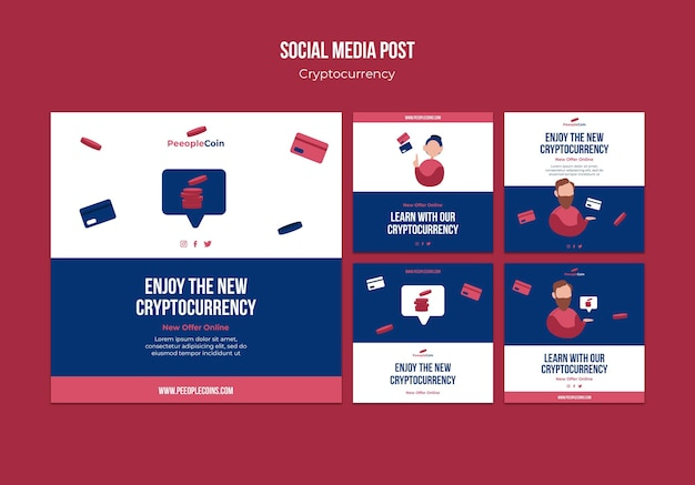 Cryptocurrency design template of social media post