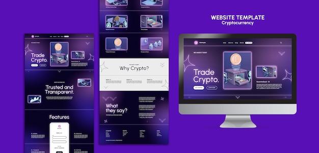 Modello di progettazione di criptovaluta del sito web