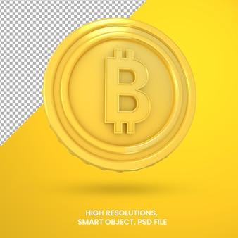 Криптовалюта золотой биткойн 3d рендеринг изолированные