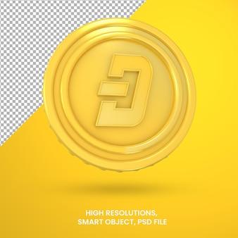 Криптовалюта золотая монета тире 3d-рендеринга изолированные
