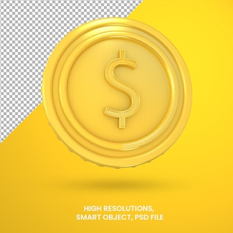 Криптовалюта золотой доллар монета 3d-рендеринга изолированные
