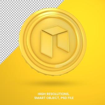 Криптовалюта золотая монета нео 3d-рендеринга изолированные