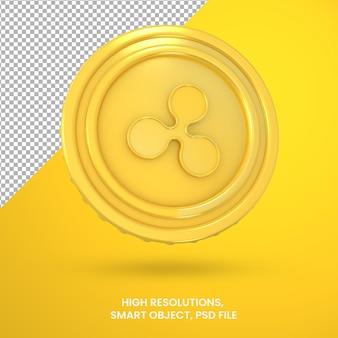 Криптовалюта золотая монета пульсации 3d-рендеринга изолированные