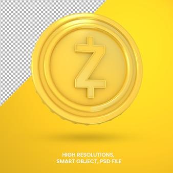 Криптовалюта золотой zcoin 3d-рендеринга изолированные