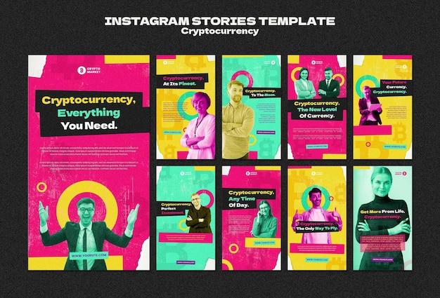 Raccolta di storie di instagram di criptovaluta