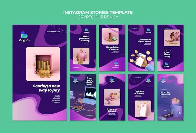 Modello di storie di instagram di criptovaluta