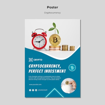 Cryptocurrency investment poster template