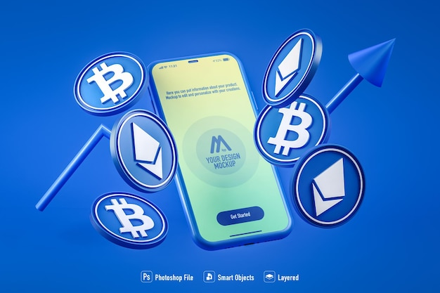 Cryptocurrency mobile application mockup isolated on blue background