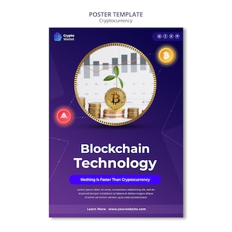 Cryptocurrency poster design template