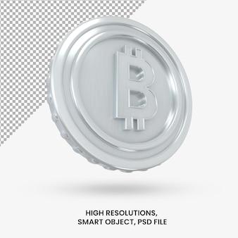 Криптовалюта серебряный биткойн 3d-рендеринга изолированные