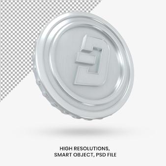 Криптовалюта серебряная монета тире 3d-рендеринга изолированные