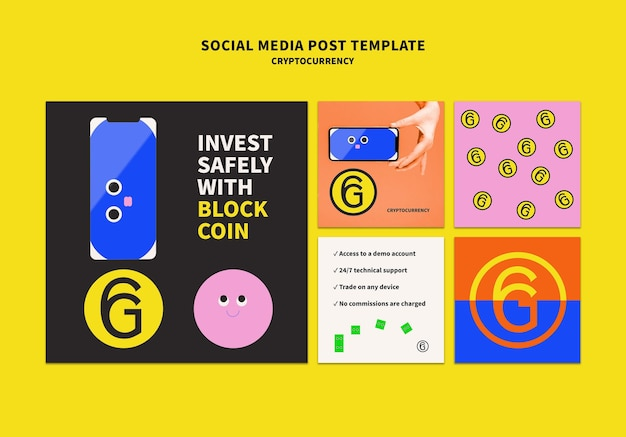 Cryptocurrency social media post template design
