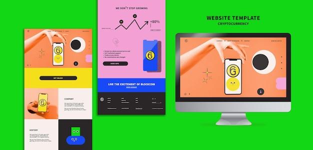 暗号通貨のwebテンプレートデザイン