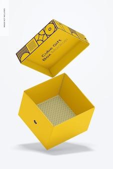 Мокап подарочной коробки куба