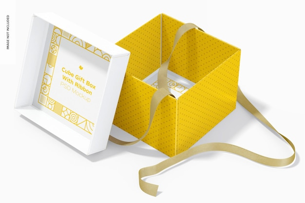 Подарочная коробка куба с макетом ленты, вид изнутри
