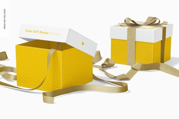 리본 모형이있는 큐브 선물 상자