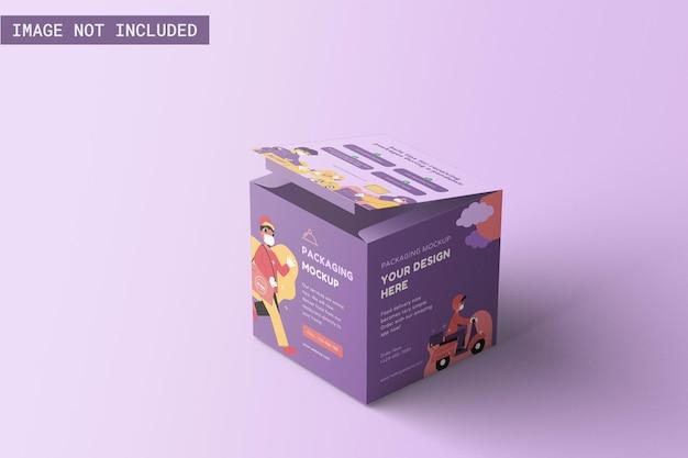 Кубическая упаковочная коробка макет под прямым углом