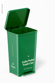 Cube pedal trash can mockup, right view
