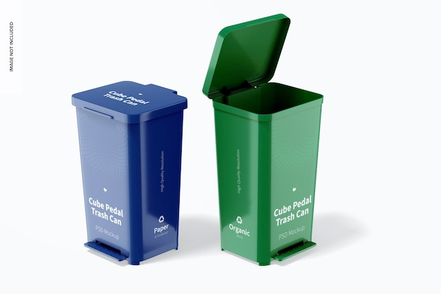 Cube pedal trash cans mockup, opened and closed